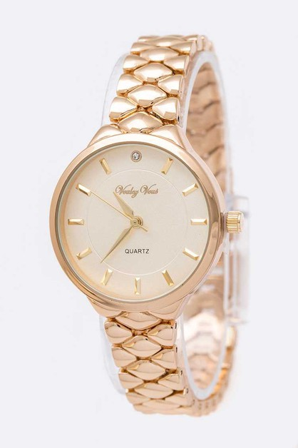 Crystal Dial Iconic Scale Band Fashi - orangeshine.com