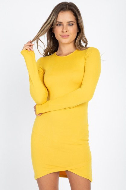 Asymmetrical Hem Bodycon Mini Dress - orangeshine.com