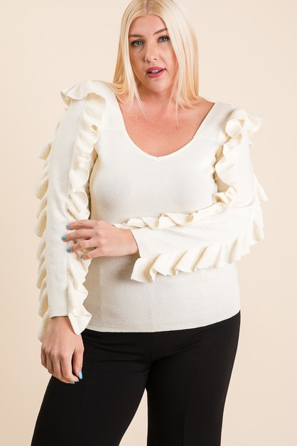 SOLID RUFFLED LONG SLEEVE SWEATER - orangeshine.com