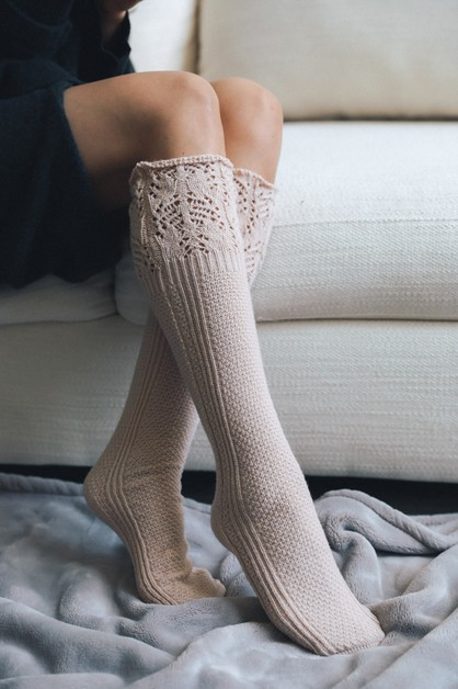Knee High Pointelle Ribbed Socks - orangeshine.com