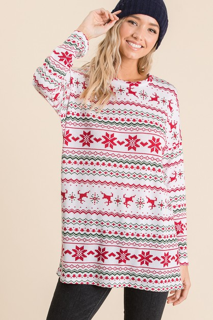 LONG SLEEVE CHRISTMAS GRAPHIC TUNIC - orangeshine.com
