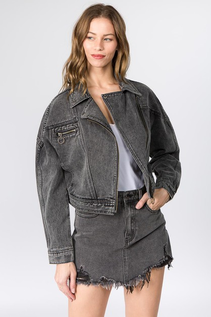 BIKER STYLE DENIM JACKET - orangeshine.com