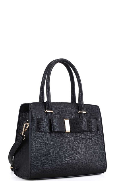 RIBBON ACCENT SATCHEL WITH STRAP - orangeshine.com