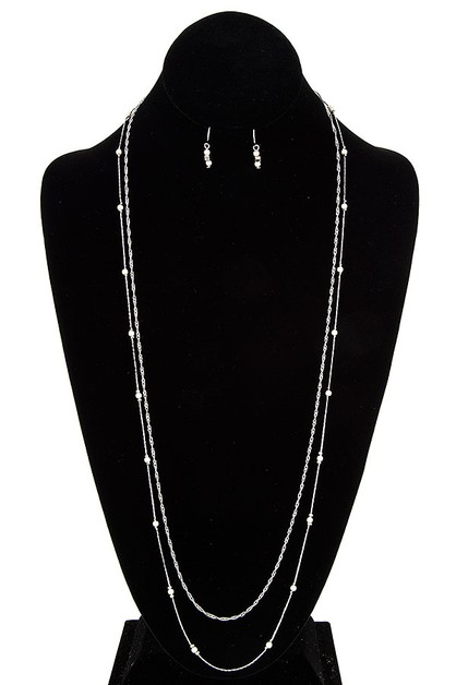 Elongated Pearl Accent Necklace Set  - orangeshine.com