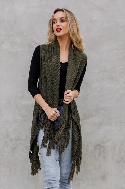 Long Line Knit Tassel Vest - orangeshine.com