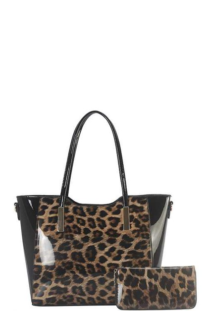 DESIGNER LEOPARD 2 IN 1 TOTE BAG SET - orangeshine.com