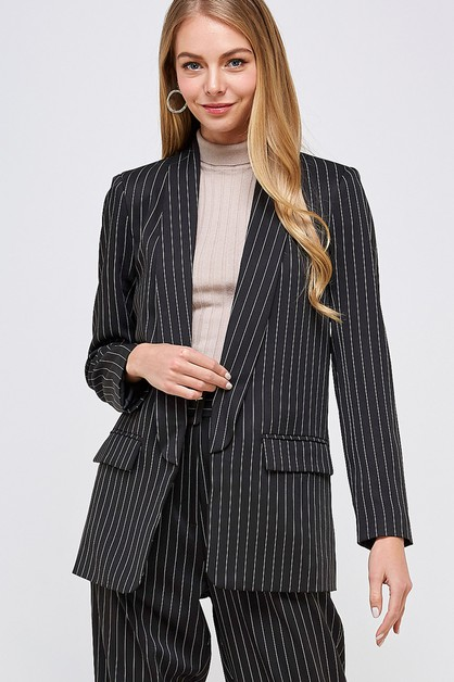 STRIPED OPEN FRONT BLAZER - orangeshine.com