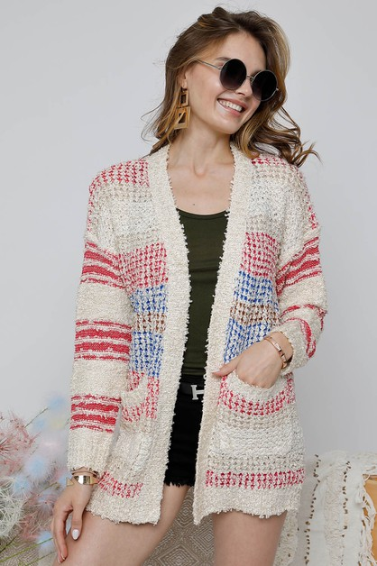 SPRINKLE CABLE KNIT SWEATER CARDIGAN - orangeshine.com