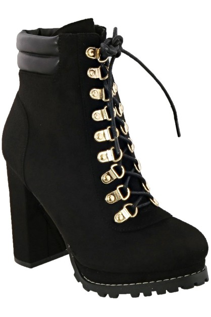 lace up chunky heel ankle booties - orangeshine.com