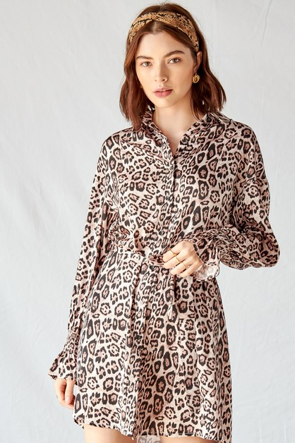 LEOPARD PRINT SHIRT DRESS - orangeshine.com