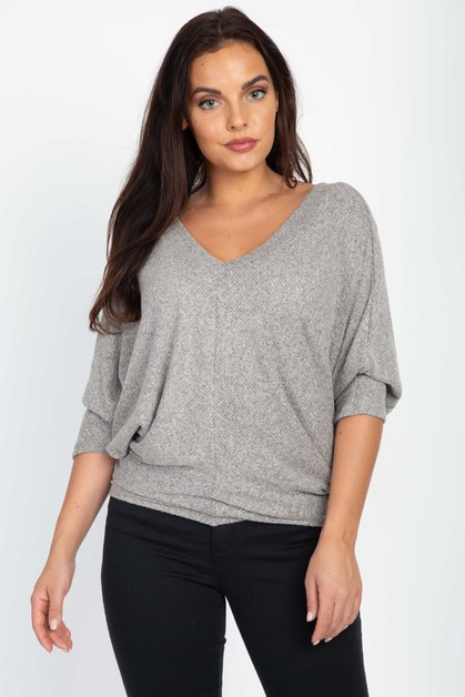 Dolman Sleeve V Neck Top - orangeshine.com