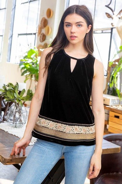 Embroidered Velvet Tank - orangeshine.com