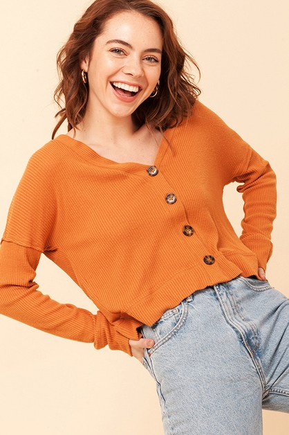 BUTTON FRONT V NECK LONG SLEEVE TOP - orangeshine.com