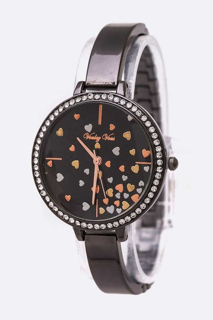 Mix Heart Dial Crystal Bezel Watch - orangeshine.com
