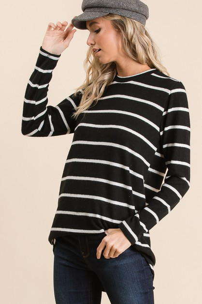 LONG SLEEVE KNIT STRIPE TUNIC - orangeshine.com