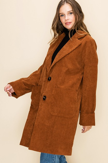 TWO BUTTON LONGLINE COAT - orangeshine.com