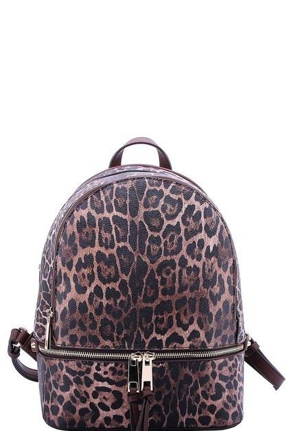 TRENDY LEOPARD TEXTURED BACKPACK - orangeshine.com