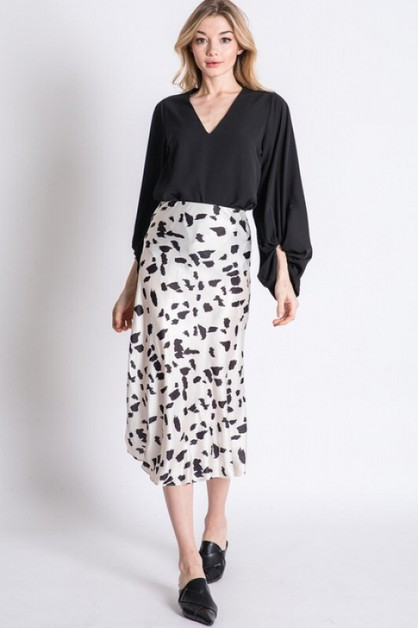 ANIMAL PRINT ACCENT MIDI SKIRT - orangeshine.com
