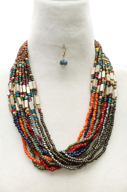 BEAD ACRYLIC NECKLACE SET  - orangeshine.com