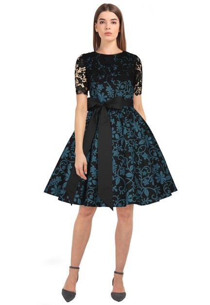 Plus Size Black/Floral Lace Retro Dress - orangeshine.com