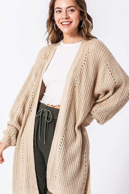 LONG LINE OPEN SWEATER - orangeshine.com