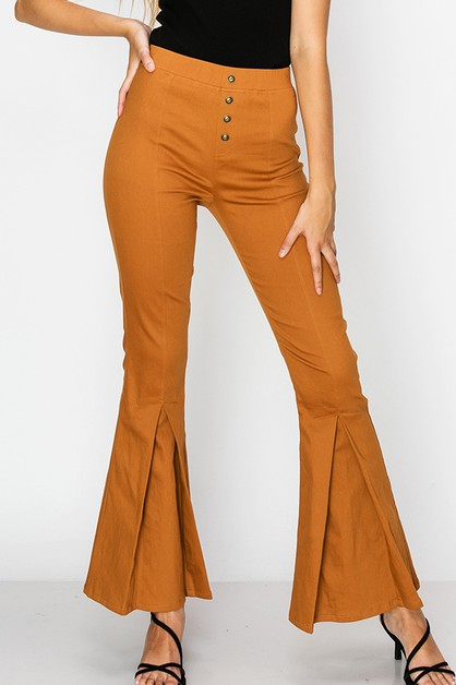 FLARE PANTS WITH BUTTON FRONT DETAIL - orangeshine.com