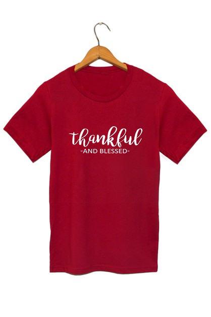 Thankful and Blessed Graphic Tee - orangeshine.com