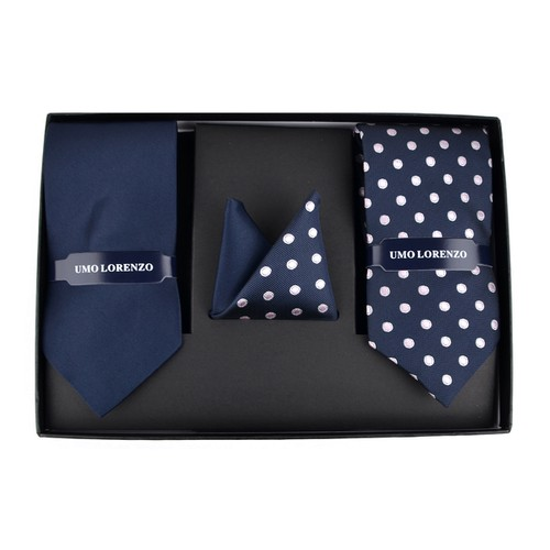 Navy Dotted Solid Tie Box Set - orangeshine.com