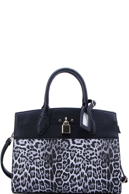 LEOPARD TEXTURED TWO TONE SATCHEL - orangeshine.com
