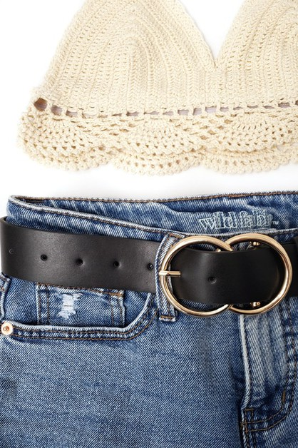 Wide DOUBLE RING METAL BUCKLE belt - orangeshine.com