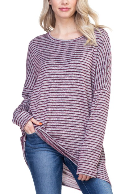 STRIPE TUNIC BRUSHED TOP - orangeshine.com