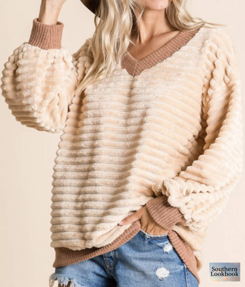 CHENILLE BURNOUT STRIPE SWEATSHIRT  - orangeshine.com