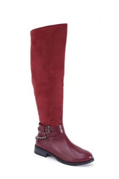 Low Heel Slouchy Knee High Boots - orangeshine.com