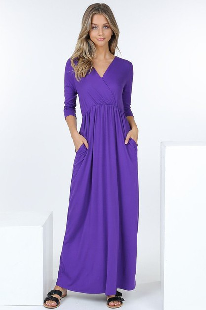 Long Sleeve V-Neck Empire Waist Maxi - orangeshine.com