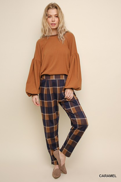 High Waist Plaid Straight Leg Pant  - orangeshine.com
