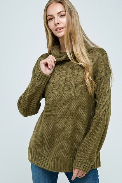 Cable Knit Turtle Neck Sweater - orangeshine.com