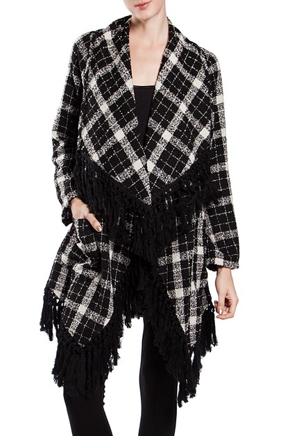 RJA4084 FRINGED PLAID SHAWL CARDIGAN - orangeshine.com