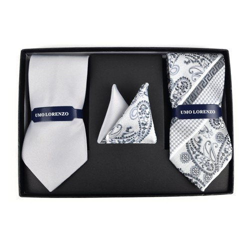 Silver Paisley  Solid Tie Box Set - orangeshine.com