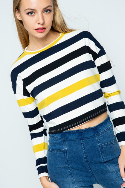 MULTI COLOR STRIPED CROP TOP - orangeshine.com