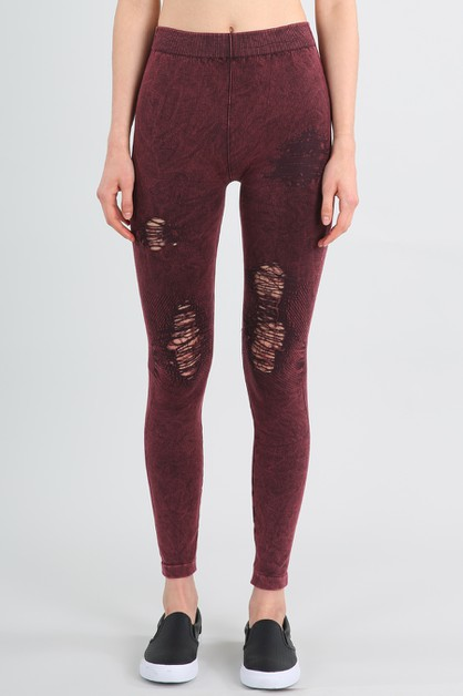 Vintage Modal Destroyed Leggings - orangeshine.com