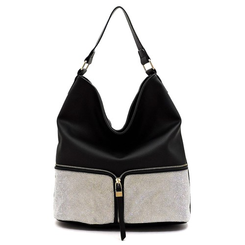 Rhinestone Colorblock Shoulder Bag - orangeshine.com