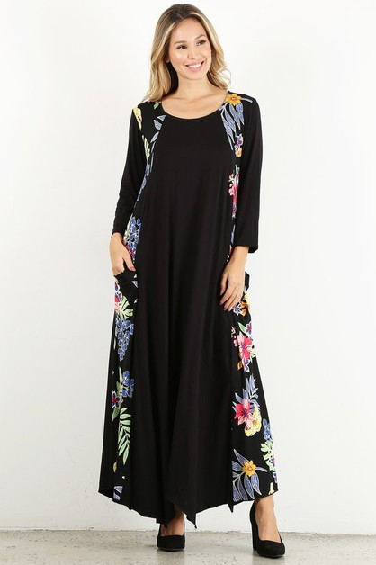 floral side pocket maxi - orangeshine.com