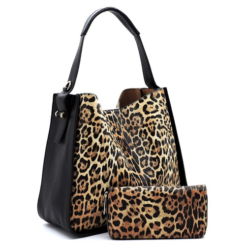 Leopard 2-in-1 Shoulder Bag Hobo - orangeshine.com