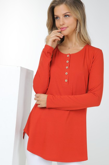 Basic Long Sleeve Round Neck Button  - orangeshine.com