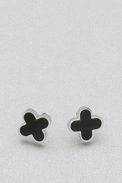 STAINLESS STEEL CLOVER POST EARRING  - orangeshine.com