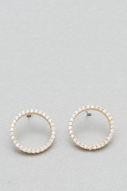 CZ CIRCLE  POST EARRING   - orangeshine.com