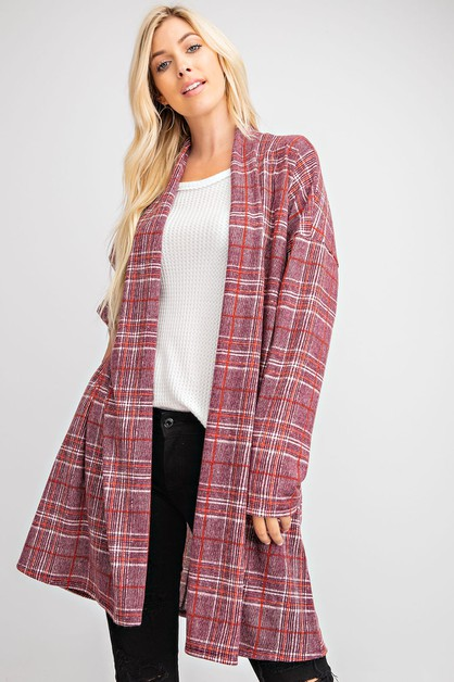 PLAID PRINT OPEN CARDIGAN WITH POCKE - orangeshine.com