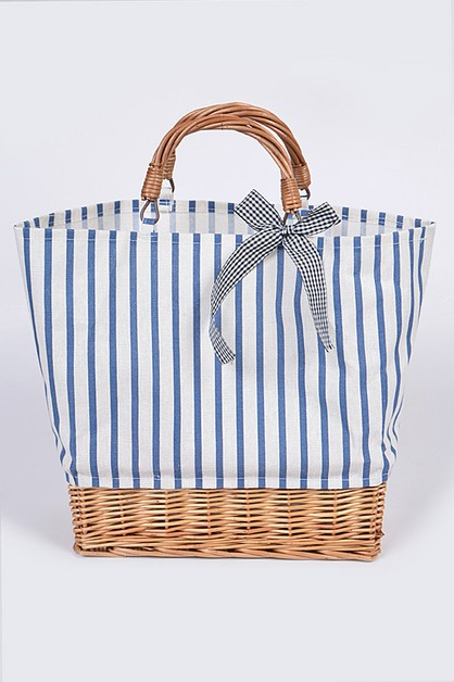 Stripe Canvas Tote Bag With Basket - orangeshine.com