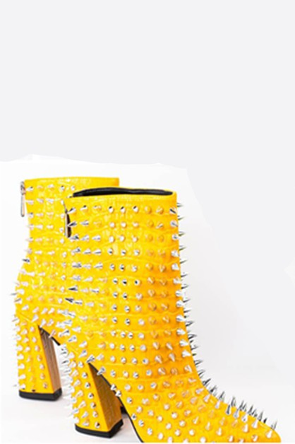 Studded Chunky High Heel Booties - orangeshine.com