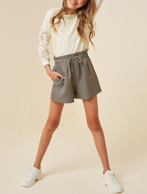 Houndstooth Paperbag Shorts - orangeshine.com